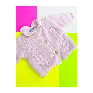 Saks 5th Ave by Marielle Pink Knit Cardigan Infant